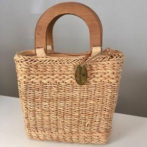 Vintage Etienne Aigner Straw Bucket Tote Handbag